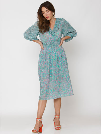 Blue All Over Print Midi Dress