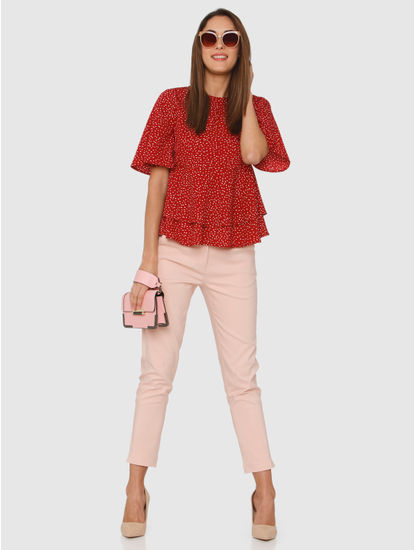 Red All Over Dotted Print Ruffle Layered Top