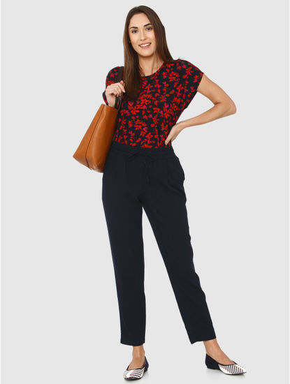Navy Blue All Over Red Leaf Print Top