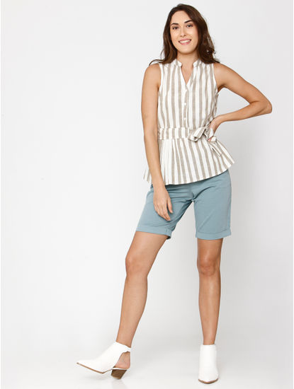 White Striped Belted Top