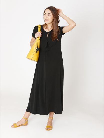 Black Front Knot Midi Dress
