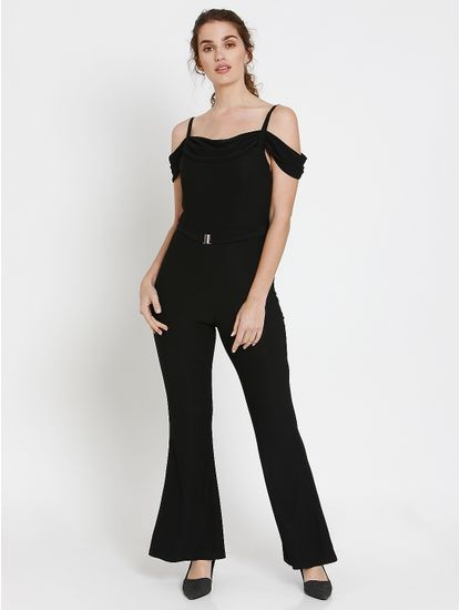 Black Cold-Shoulder Flared Hem Jumpsuit
