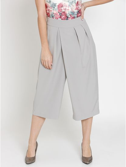Grey Pleated Midi Culottes