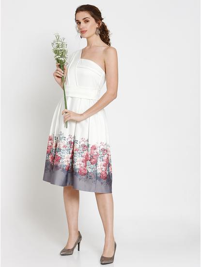 White Floral Print One Shoulder Fit & Flare Dress