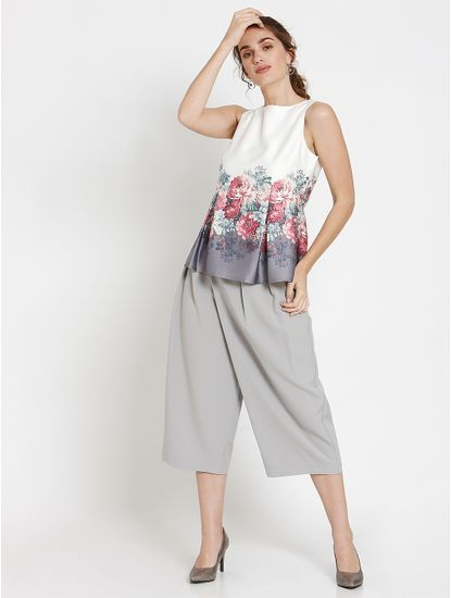 White Floral Print Pleated Peplum Top
