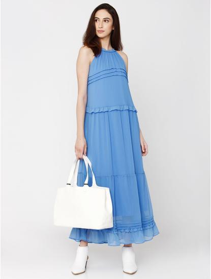Blue Ruffle Detail Maxi Dress
