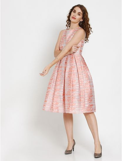 Peach Abstract Striped Print Pleated Fit & Flare Dress