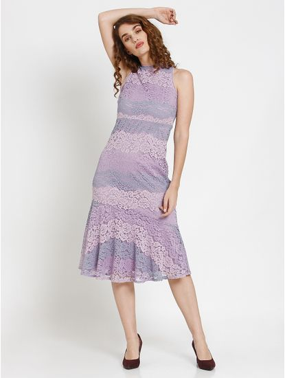 Lavender Lace Flounce Midi Dress