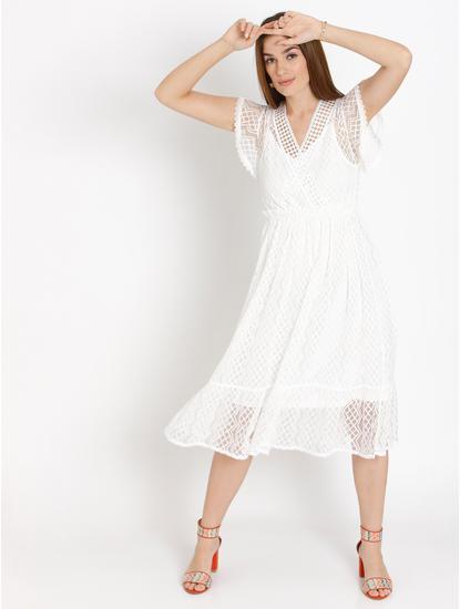 White Cut Work Lace Midi Dress