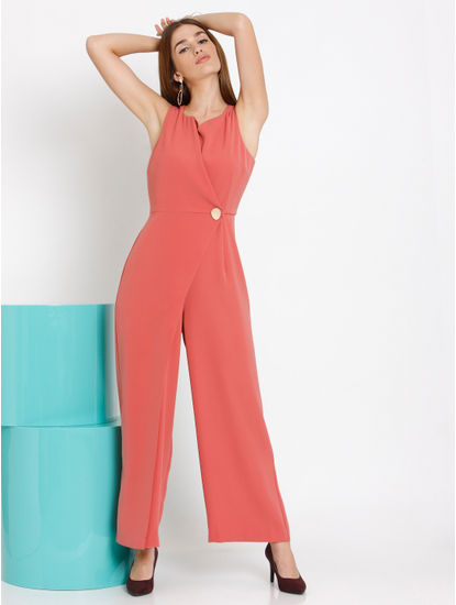 Peach Overlap Jumpsuit