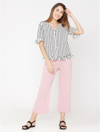 White Striped Ruffle Shirt