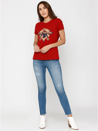 X Marvel Red Captain Marvel Graphic Print T-Shirt