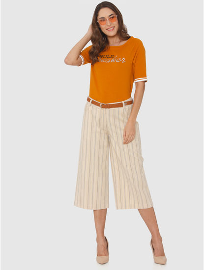 Cream Striped Culottes