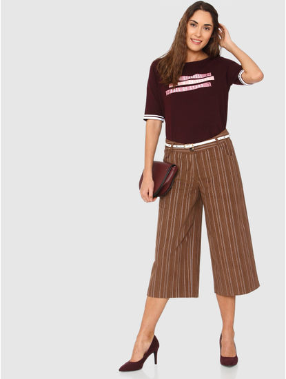 Brown Striped Culottes