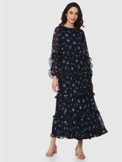 Navy Blue Floral Print Ruffle Maxi Dress