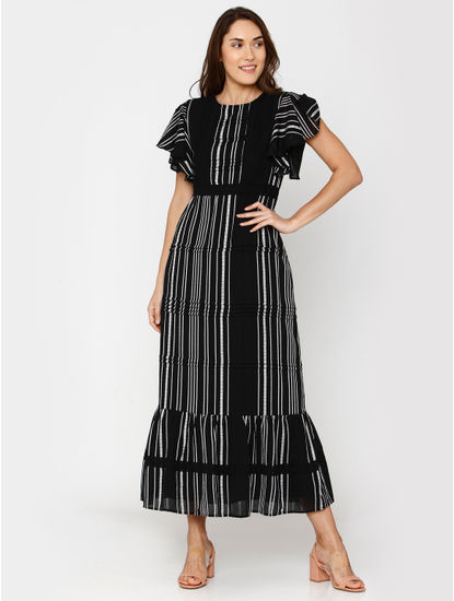 Black Striped Flutter Sleeves Maxi Dress