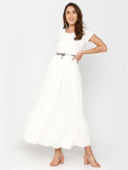 White Floral Cut Work Maxi Dress
