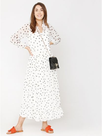White All Over Print Maxi Dress