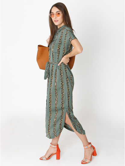 Green Animal Striped Print Shirt Dress