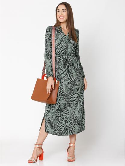 Green Animal Print Shirt Dress