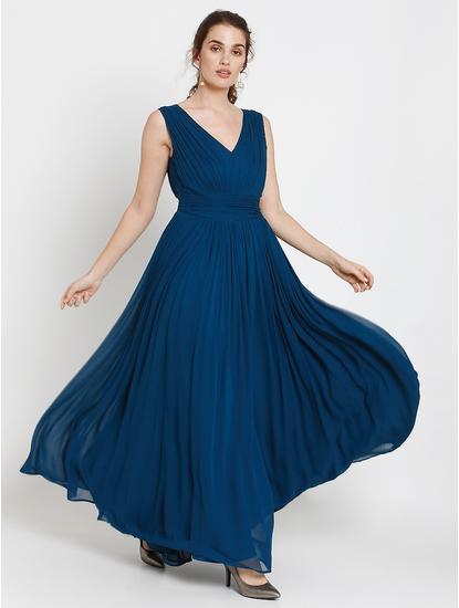 Blue Fit & Flare Maxi Dress