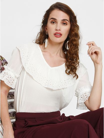 White Schiffli Detail Pleated Top