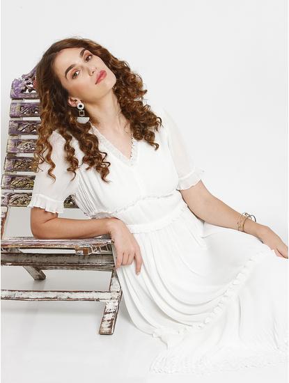 White Frill Detail Pleated Midi Dress