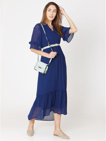 Blue Ruffle Maxi Dress