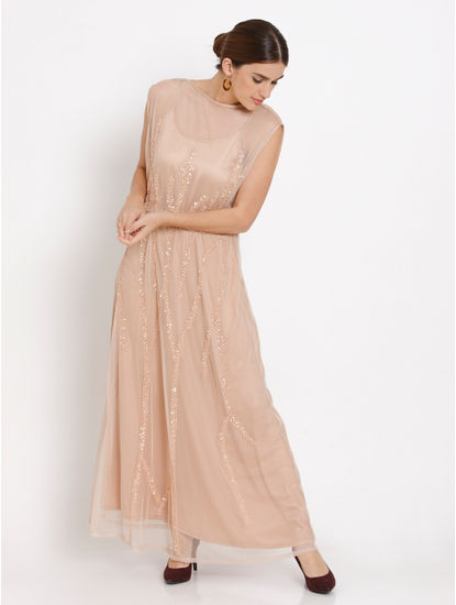 Beige Embroidered Maxi Dress