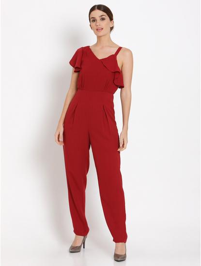 Red Flounce Jumpsuit