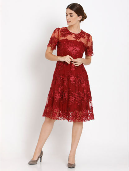 Red Lace Fit &Amp; Flare Dress
