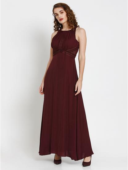 Burgundy Cut Work Detail Maxi Dress