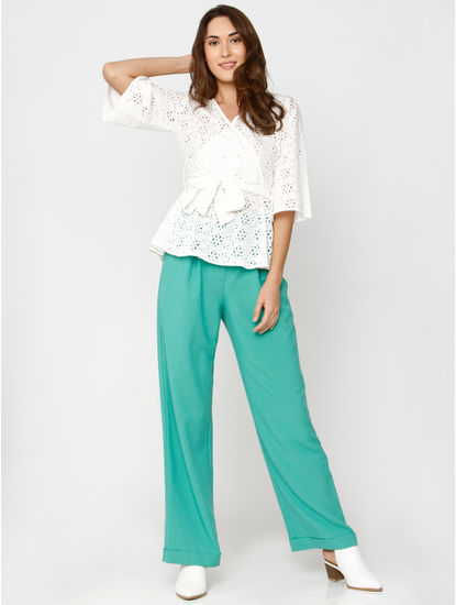 White Cut Work Lace Tie Up Top