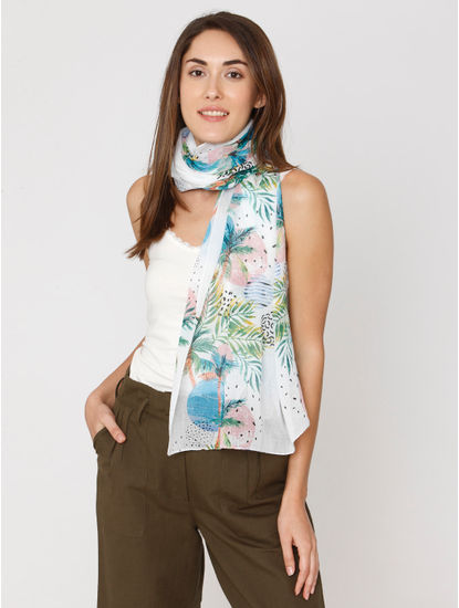 White Printed Scarf