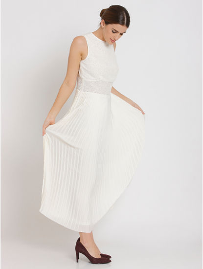 Off-White Lace Pleated Maxi Dress