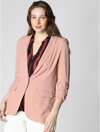 Pink Single Button Blazer