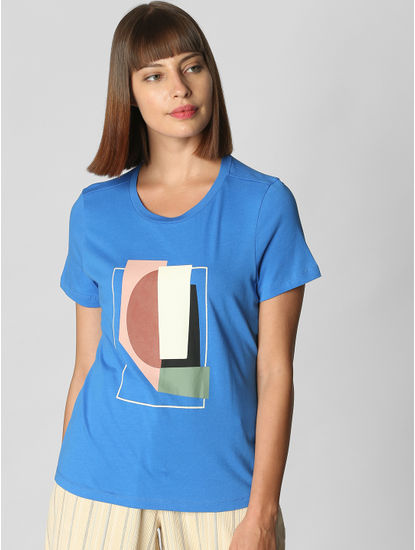 Blue Graphic Print T-shirt
