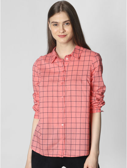 Peach Check Shirt