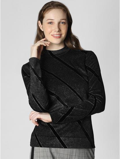Black Shimmer Striped Top