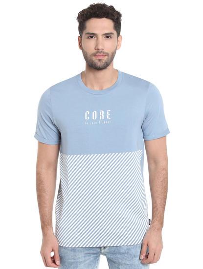 Light Blue Striped Crew Neck T-Shirt