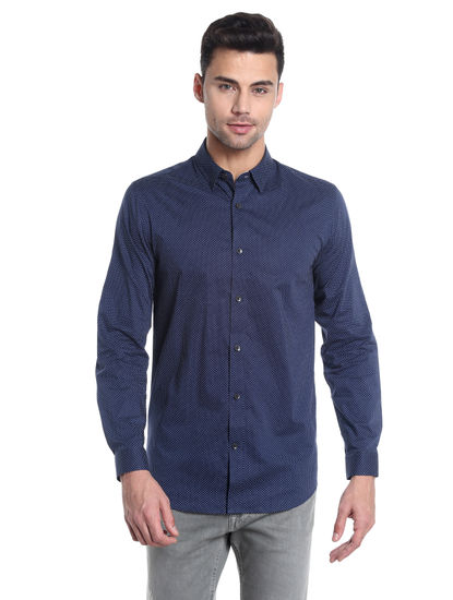 Blue Dotted Slim Fit Shirt