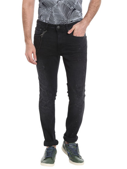 Black Low Rise Skinny Fit Distressed Jeans