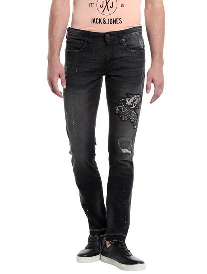 Black Distressed Patchwork Slim Jeans