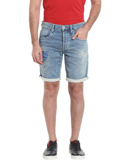 Light Blue Denim Mid Rise Shorts