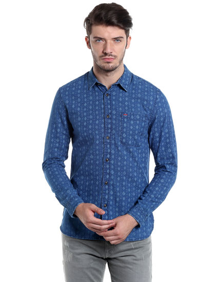 Blue Printed Slim Fit Shirt