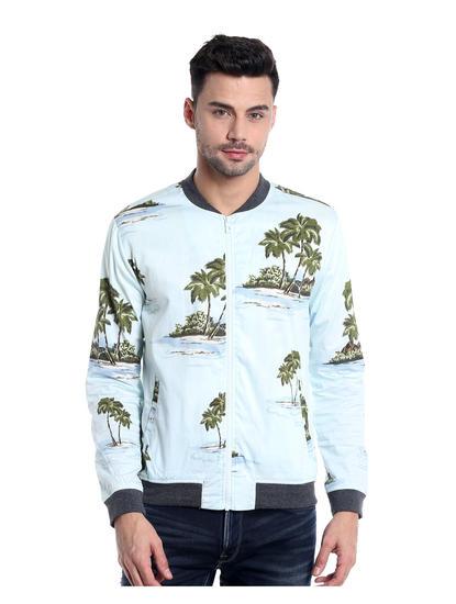 Light Blue Palm Tree Print Bomber Jacket