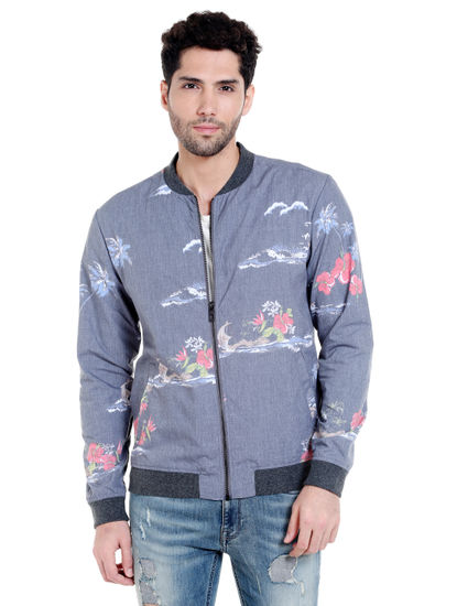 Grey Tropical Print Bomber Jacket