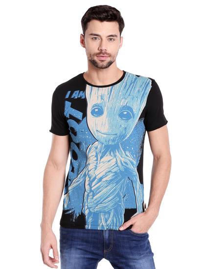 X Guardians Of The Galaxy Groot Print Black & Blue Crew Neck T-Shirt