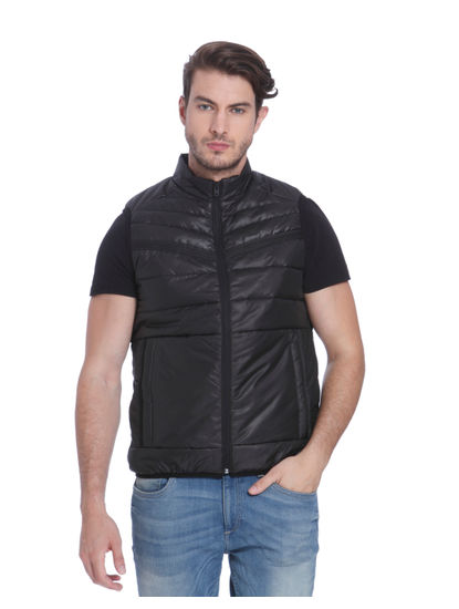 Black Sleeveless Bomber Jacket