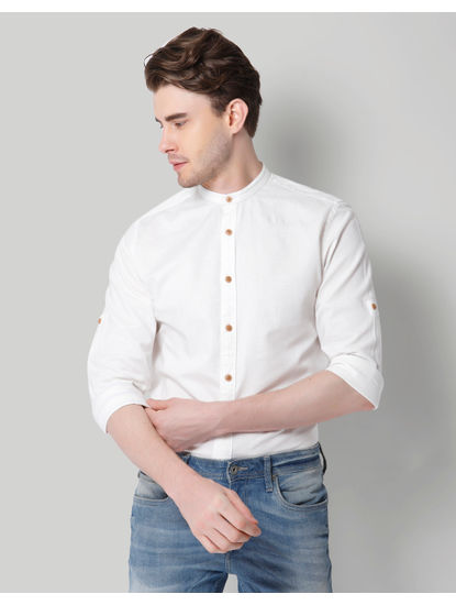 White Mandarin Collar Shirt